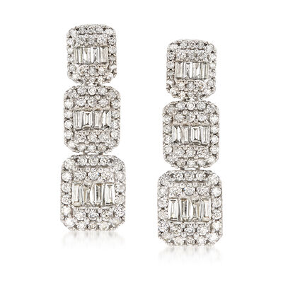 1.50 ct. t.w. Diamond Triple Rectangle Drop Earrings in 14kt White Gold, , default