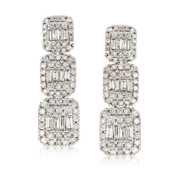1.50 ct. t.w. Diamond Triple Rectangle Drop Earrings in 14kt White Gold, , default