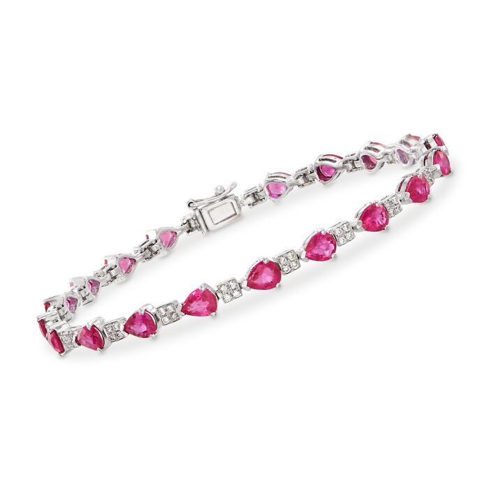7.00 ct. t.w. Ruby and .50 ct. t.w. Diamond Bracelet in 18kt White Gold, , default