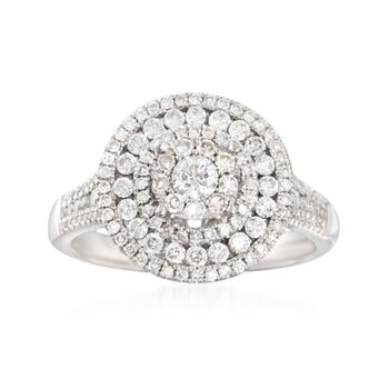 1.00 ct. t.w. Diamond Round Illusion Ring in 14kt White Gold, , default