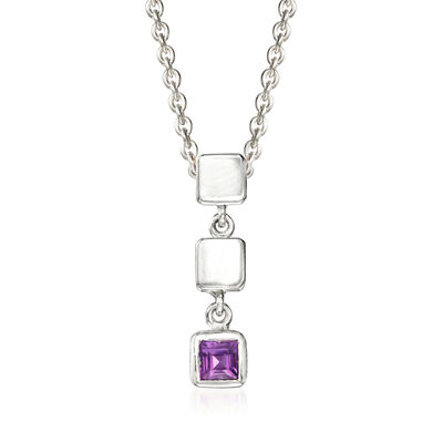 "Zina Sterling Silver ""Ice Cube"" .20 Carat Amethyst Drop Pendant Necklace, , default"