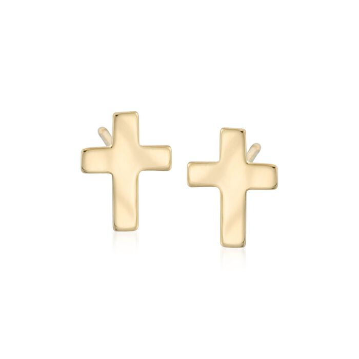 14kt Yellow Gold Cross Earrings, , default