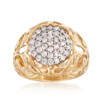 .52 ct. t.w. Pave Diamond Open Scrollwork Ring in 14kt Yellow Gold, , default