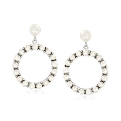 3-6mm Cultured Pearl Circle Drop Earrings with Sterling Silver