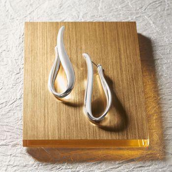 """Italian Sterling Silver U-Hoop Earrings. 2"""", , default"""