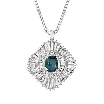 C. 1980 Vintage .48 Carat Alexandrite and 1.09 ct. t.w. Diamond Pendant Necklace in Platinum