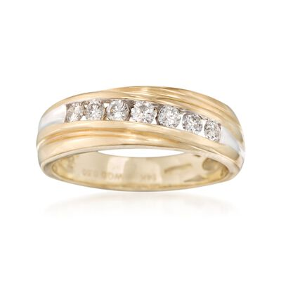Men's .50 ct. t.w. Channel-Set Diamond Wedding Ring in 14kt Yellow Gold, , default