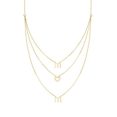 "Three-Strand ""Mom"" Layered Necklace in 14kt Yellow Gold, , default"