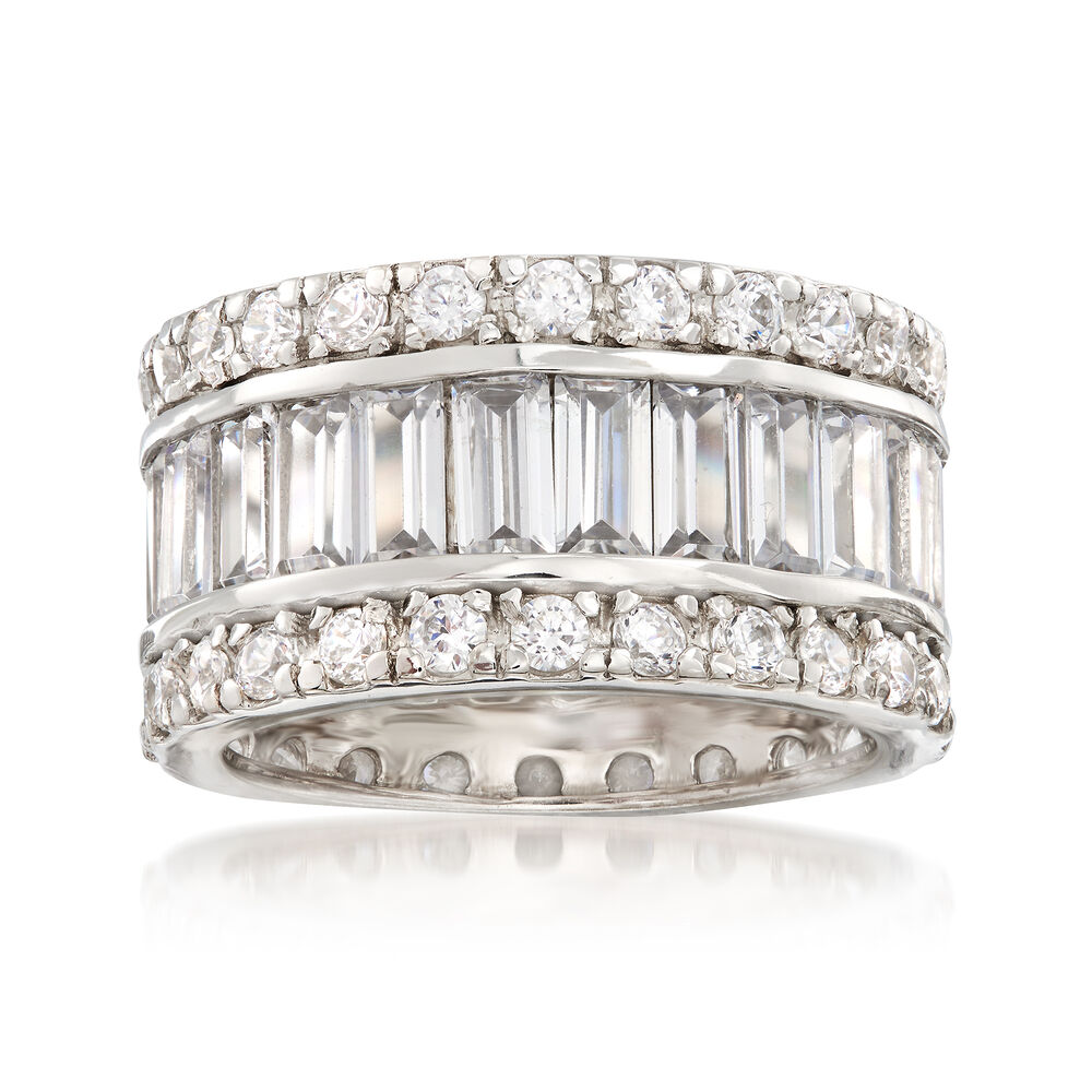 a7db8e337 6.95 ct. t.w. Baguette and Round CZ Eternity Band in Sterling Silver, ,  default