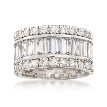 6.95 ct. t.w. Baguette and Round CZ Eternity Band in Sterling Silver, , default