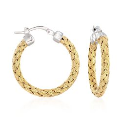 "Charles Garnier ""Milan"" Two-Tone Sterling Silver Small Hoop Earrings. 1"", , default"