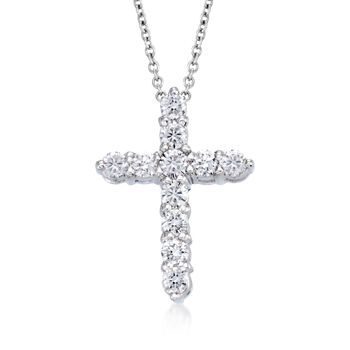 """Roberto Coin """"Tiny Treasures"""" .45 ct. t.w. Diamond Cross Necklace in 18kt White Gold. 16"""", , default"""