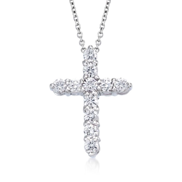 "Roberto Coin ""Tiny Treasures"" .45 ct. t.w. Diamond Cross Necklace in 18kt White Gold. 16"", , default"