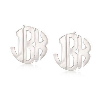 Sterling Silver Hand-Cut Monogram Earrings, , default
