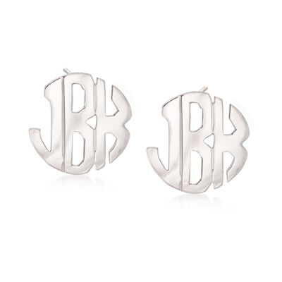 Sterling Silver Hand-Cut Monogram Earrings, , default