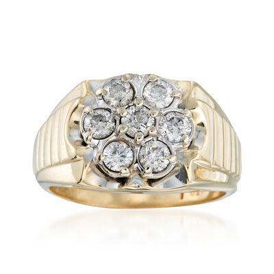 C. 1970 Vintage Men's 1.50 ct. t.w. Diamond Ring in 10kt Yellow Gold, , default
