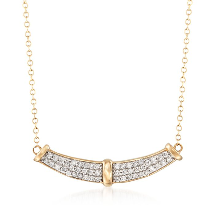 """.33 ct. t.w. Diamond Curve Necklace in 14kt Yellow Gold. 18"""""""