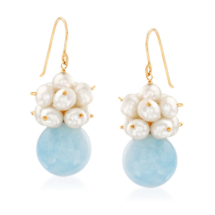 15.00 ct. t.w. Aquamarine and 3-4mm Cultured Pearl Drop Earrings in 14kt Yellow Gold, , default