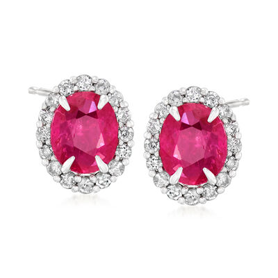 C. 1990 Vintage 1.23 ct. t.w. Ruby and .28 ct. t.w. Diamond Earrings in 18kt White Gold