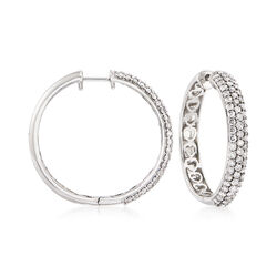 2.00 ct. t.w. Pave Diamond Hoop Earrings in 14kt White Gold, , default
