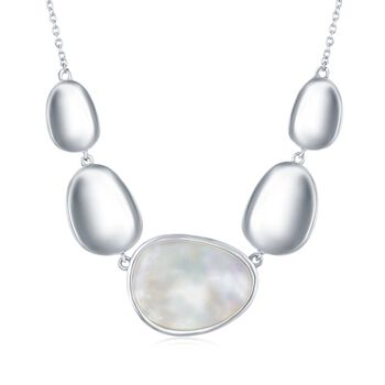 """Mother-Of-Pearl and Sterling Silver Oval Disc Necklace. 16"""", , default"""