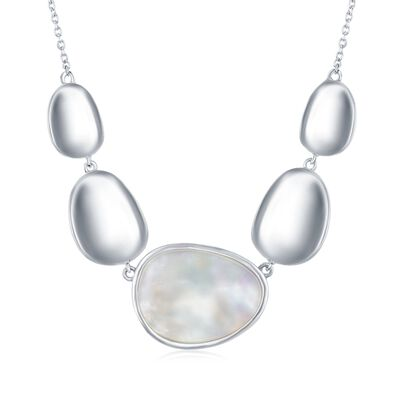 Mother-Of-Pearl and Sterling Silver Oval Disc Necklace, , default