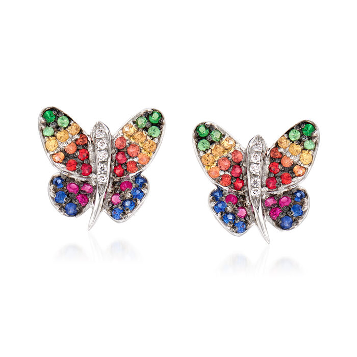 .50 ct. t.w. Multicolored Sapphire and .10 ct. t.w. Tsavorite Butterfly Stud Earrings in 18kt Two-Tone Gold, , default