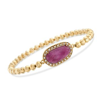 """5.00 Carat Pink Sapphire and .20 ct. t.w. White Topaz Bead Stretch Bracelet in 18kt Gold Over Sterling . 8"""", , default"""