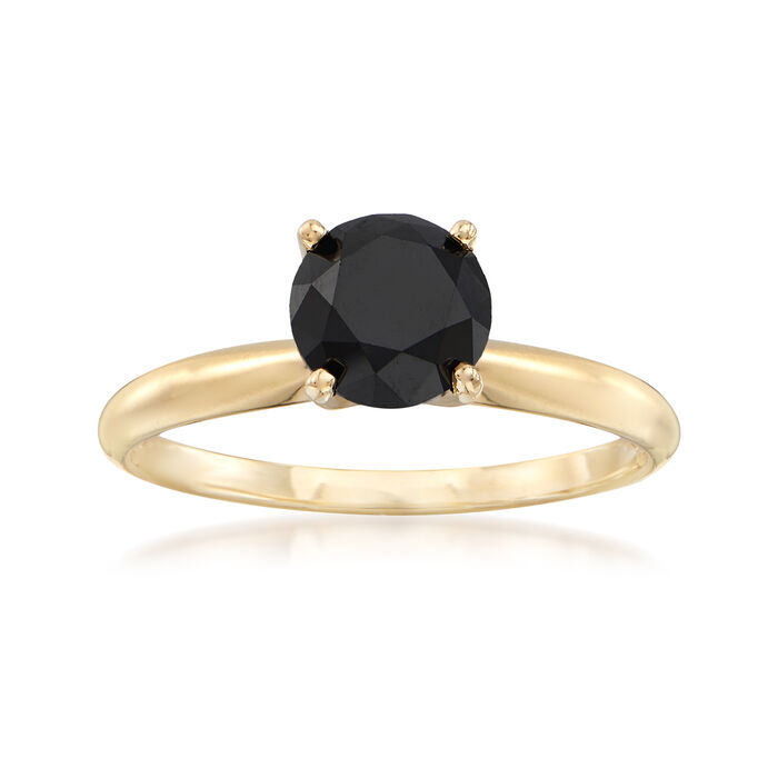 1.50 Carat Black Diamond Solitaire Ring in 14kt Yellow Gold