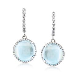 8.00 ct. t.w. Blue Topaz and .14 ct. t.w. Diamond Drop Earrings in 14kt White Gold, , default