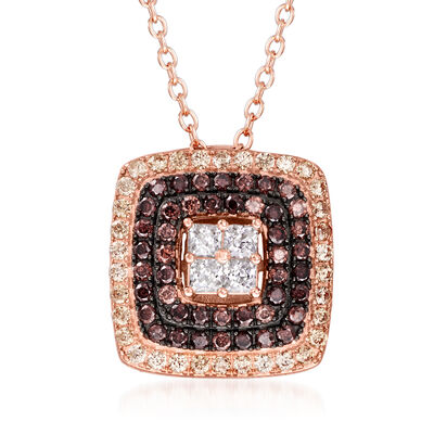 .90 ct. t.w. Brown and White CZ Square Pendant Necklace in 18kt Rose Gold Over Sterling