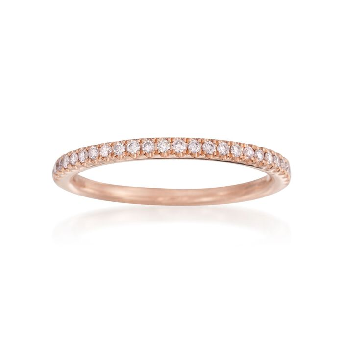 Henri Daussi .15 ct. t.w. Pave Diamond Wedding Ring in 18kt Rose Gold, , default