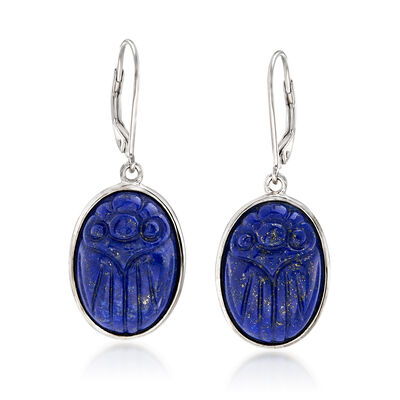 Lapis Scarab Drop Earrings in Sterling Silver, , default