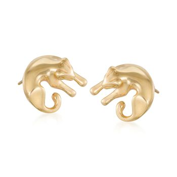 Italian 18kt Gold Over Sterling Silver Panther Earrings, , default