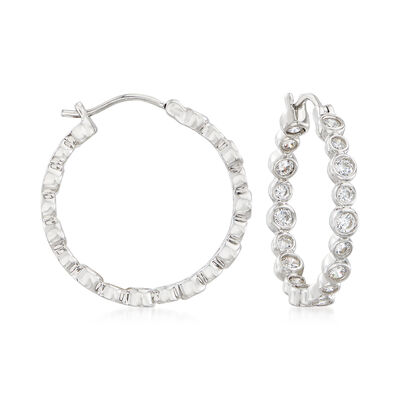 1.74 ct. t.w. Bezel-Set CZ Inside-Outside Hoop Earrings in Sterling Silver, , default
