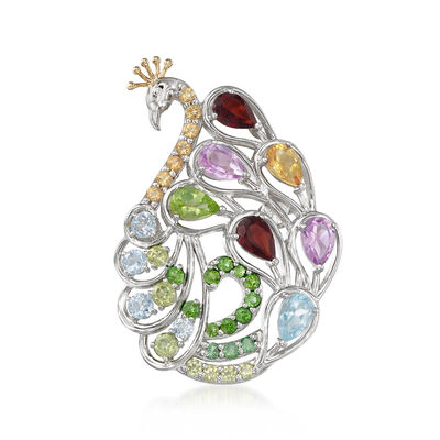 4.19 ct. t.w. Multi-Gem Peacock Pin/Pendant in Sterling Silver and 14kt Yellow Gold