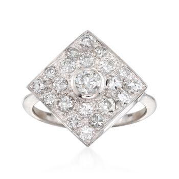 C. 1990 Vintage 1.25 ct. t.w. Diamond Ring in 18kt White Gold. Size 7, , default