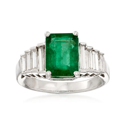 2.60 Carat Emerald and .79 ct. t.w. Baguette Diamond Ring in 18kt White Gold, , default