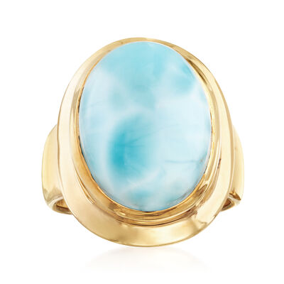 Cabochon Larimar Ring in 14kt Gold Over Sterling, , default