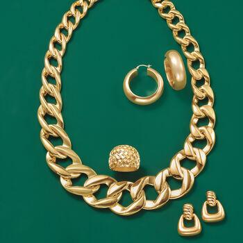 Italian Andiamo 14kt Yellow Gold Ribbed Top Doorknocker Earrings, , default