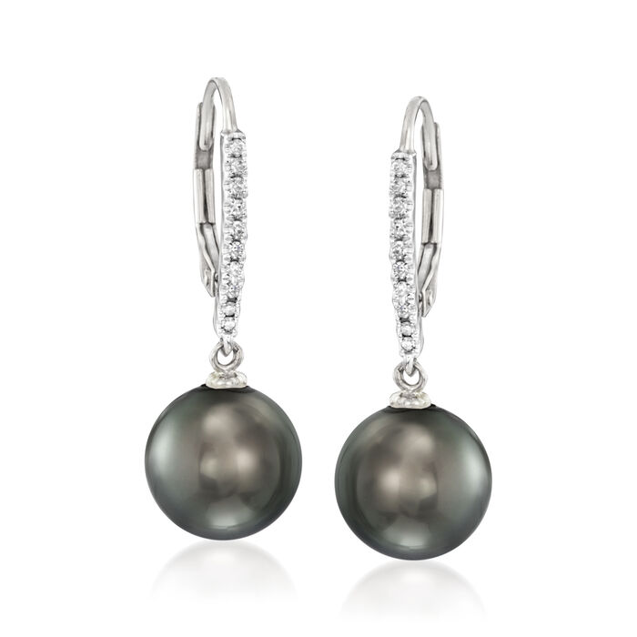 9-9.5mm Black Cultured Tahitian Pearl and .11 ct. t.w. Diamond Earrings in 14kt White Gold, , default