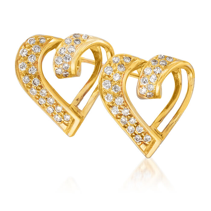 C. 1980 Vintage 1.00 ct. t.w. Diamond Double- Heart Pin in 18kt Yellow Gold