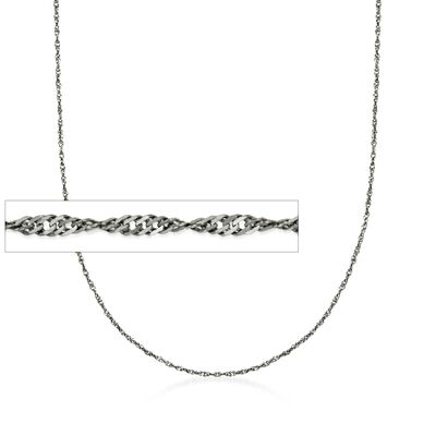 Italian 1.6mm Sterling Silver Adjustable Slider Singapore Chain Necklace in Black Rhodium, , default