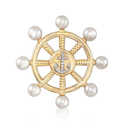 6-6.5mm Cultured Pearl and .13 ct. t.w. Diamond Anchor Steering Wheel Pin in 18kt Gold Over Sterling, , default