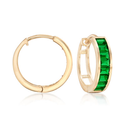 Baguette Simulated Emerald Hoop Earrings in 14kt Yellow Gold, , default