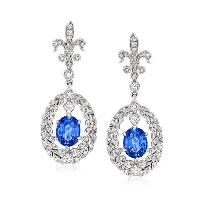 C. 1990 Vintage 3.30 ct. t.w. Sapphire and .55 ct. t.w. Diamond Fleur-De-Lis Drop Earrings in 18kt White Gold