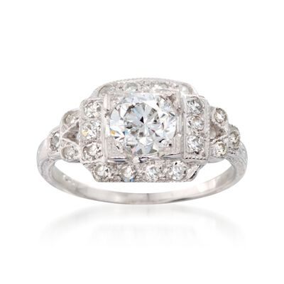 C. 1950 Vintage 1.46 ct. t.w. Certified Diamond Ring in Platinum