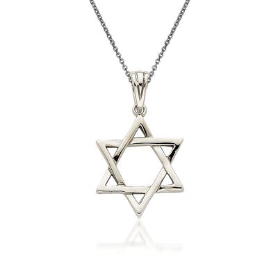 14kt White Gold Star of David Pendant Necklace, , default