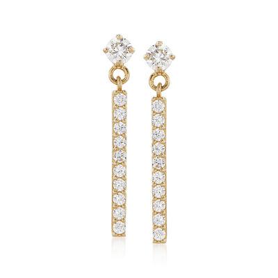 .25 ct. t.w. CZ Bar Drop Earrings in 14kt Yellow Gold, , default