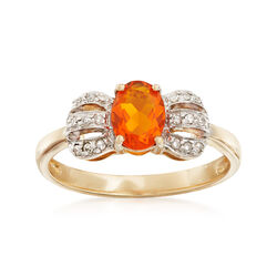 Fire Opal and .11 ct. t.w. Diamond Bow Ring in 14kt Yellow Gold, , default